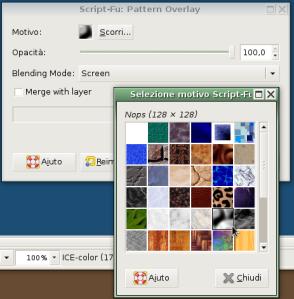 usando Pattern Overlay scegliete il pattern evidenziato e preoccupatevi che il suo Blending Mode sia Screen