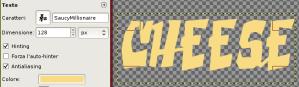 Creato un livello di testo con un colore simile al formaggio