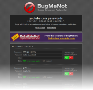 ricerca user e passoword per YouTube con bugmenot.com