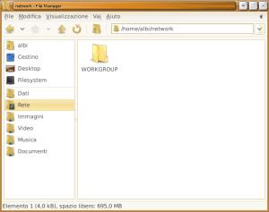 La cartella montata, il file manager usato è Thunar
