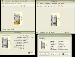 La birra in Mirage è piena poichè l'animazione funziona. In basso, le rispettive schermate di proprietà immagine.